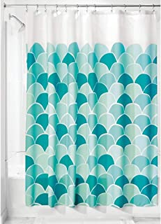 iDesign Scales Fabric Bathroom Shower Curtain, 72 x 72 Inches -White and Blue