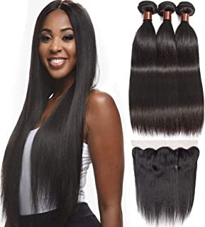 BLACKMOON HAIR(TM) Brazilian Virgin Remy Hair Silky Straight 3 Bundles With Full Lace Frontal Unprocessed Virgin Human Hair Extensions Hair Weave Natural Black Color (16