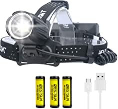 Ultra Bright XHP90 LED Headlamp USB Rechargeable 10000 Lumens XHP90 LED Headlight Head Torch 3 Modes with 18650 Battery He...