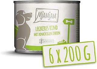 MjAMjAM - Pienso acuoso para Perros - Deliciosa Ternera con Patatas cocidas y Guisantes crujientes - Natural - 6 x 200 g