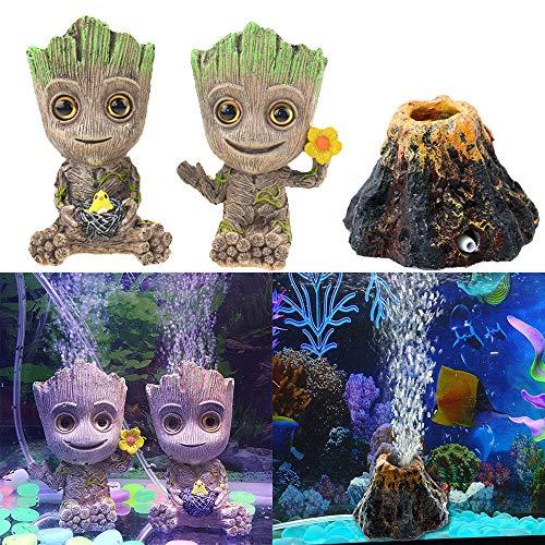Geenber Aquarium-Dekoration Vulkan, niedlicher Mini-Baum-Form, Kunstharz, Basteln, Ornament, Sauerstoffpumpe, Luftblasenstein für Aquarien