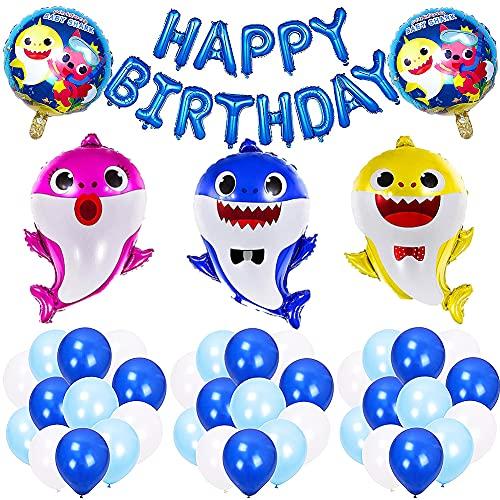 Decoraciones de cumpleaños para niños,tiburón Cartoon Party Set,36 Piezas Baby Cute Shark Balloons Birthday Party Decorations