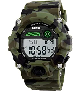 Boys Camouflage LED Sport Watch,Waterproof Digital Electronic Casual Military Wrist Kids Sports Watch with Silicone Band Luminous Alarm Stopwatch Watches Girls