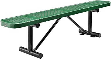 """Global Industrial 72"""" Perforated Metal Outdoor Flat Bench, Green"""