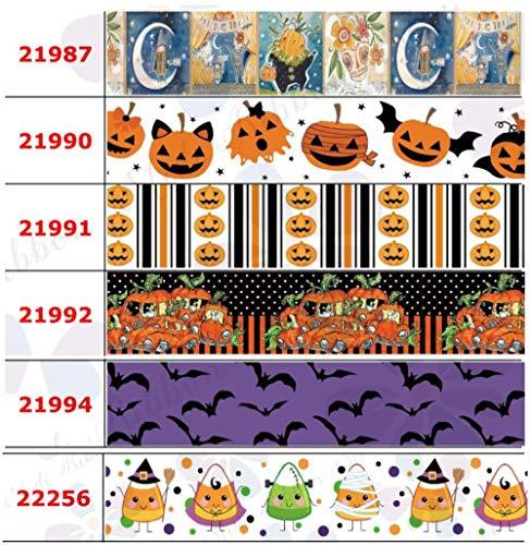 16 mm-75 mm Happy Halloween Series Colorido Bat Calabaza Impreso Grosgrain/Enemigo Cinta Donut Geométrica DIY Fiesta 50 yardas/rollo, 22020,50 mm Grosgrain
