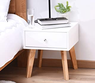 TaoHFE White Nightstand Wooden End Table with Drawer for Living Room Large Space Smooth Surface