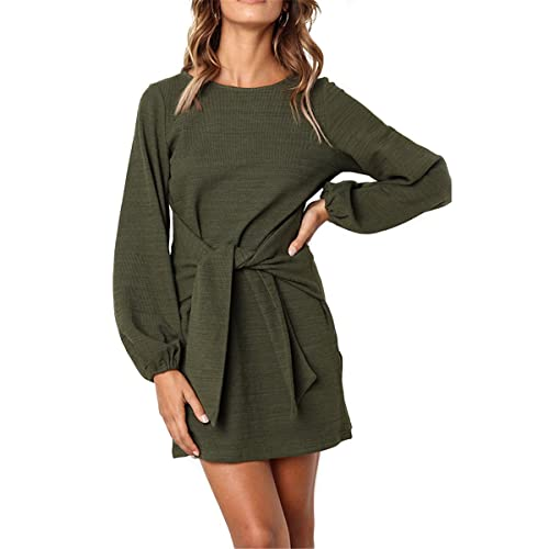 2fd463251a EULLA Women Long Jumper Dress Puff Sleeve Stylish with Tie Front Pullover  Dresses