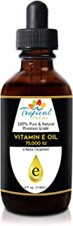 100% Pure Vitamin E Oil 4oz - Extra Strength 75,000 IU, Unrefined Natural Face Moisturizer For Skin, Scars, Nails, Hair Gr...