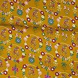Tela de algodón con diseño de corzo y flores, color amarillo