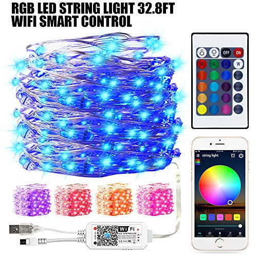 Smart WiFi Control RGB Fairy String Light, 32.8ft 100LED Indoor/Outdoor Waterproof USB Copper Wire Lights with Remote, Works with Google Home, Siri, IFTTT and Alexa
