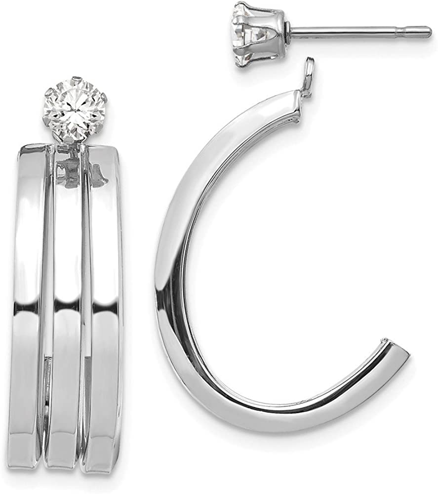14k White Gold J Hoop 4mm Cubic Zirconia Cz Stud Ear Jacket Jackets For Studs Fine Jewelry For Women Gifts For Her