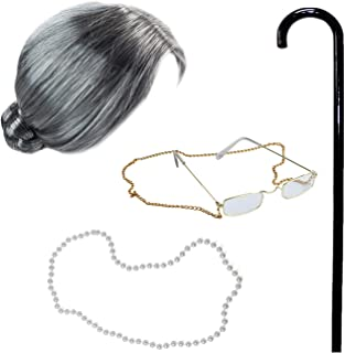 Old Lady Costume with Cane - Granny Wig - Grandma Dress Up - Granny Glasses - 4 Pc Set Old Lady Accessories Grey