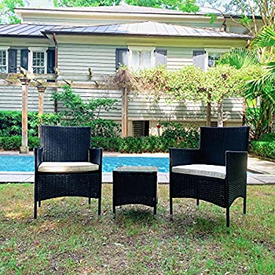 M&W 3 Piece Patio Furniture Set, PE Wicker Rattan Outdoor Sofa, 2 Cushioned Chairs and 1 Coffee Table with Tempered Glass Top for Garden, Backyard, Porch, Balcony, Lawn, Poolside