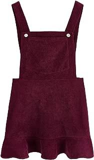 Romwe Women's Ruffle Hem Straps A Line Bib Pinafore Corduroy Pocket Overall Dress