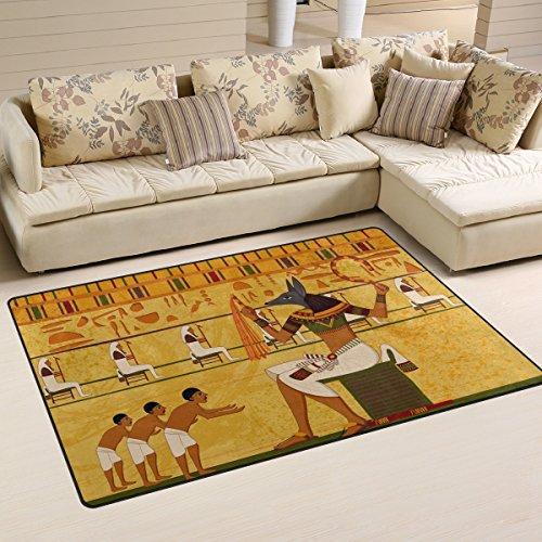 Use7 Alfombra Antiguo de Cultura Egipcia Antigua, Alfombra Antideslizante, Alfombrilla de Suelo, Felpudo, Salón, Dormitorio, 50 x 80 cm