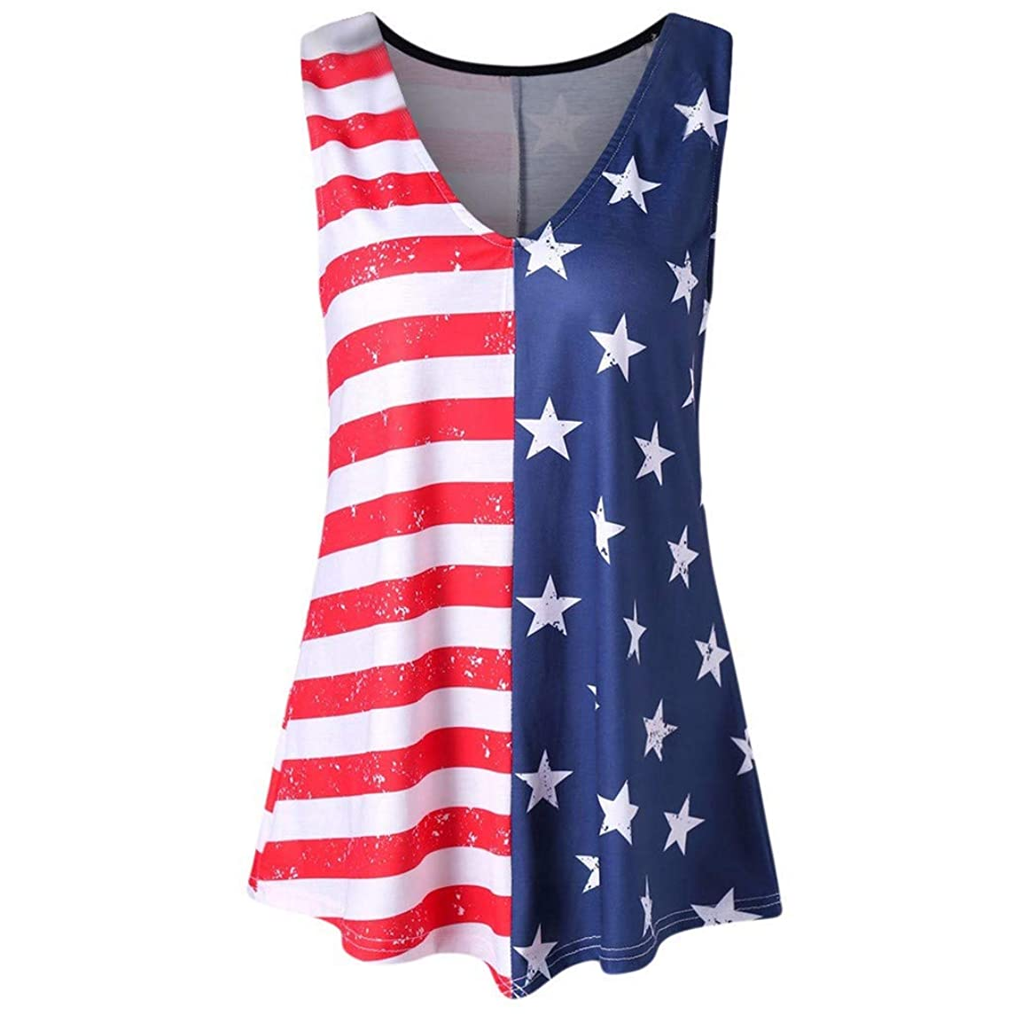 MTENG Fashion Women Stripe America Flag Printed V-Neck Sleeveless Tank Up Blouse 4th of July Independence Day