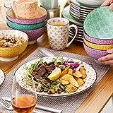Vancasso Tafelservice Porzellan, Tulip Elegantes Geschirrset, 48 teilig Kombiservice Serie Mandala, mit Speiseteller, Dessertteller, Müslischalen und Kaffeebecher für 12 Personen - 9