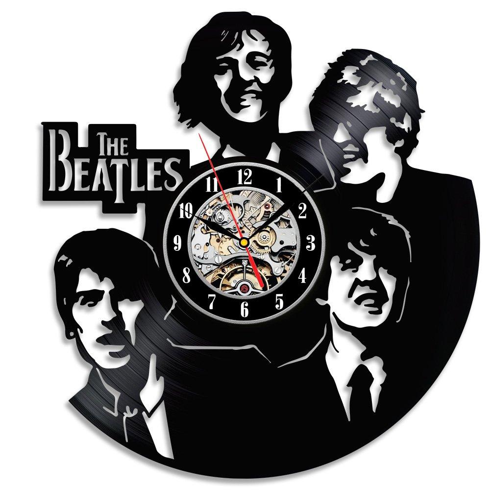 The Beatles reloj de pared única hecho con grabación de vinilo: Amazon.es: Hogar