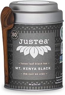 JusTea MT. KENYA BLACK | Loose Leaf Black Tea with Hand Carved Tea Spoon | 40+ Cups (3.2oz) | High Caffeine | Award-Winnin...
