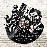 Zhuhuimin Cuidado del Cabello barbero CD de barbero montado en la Pared Disco de Vinilo Reloj de Pared Antiguo Reloj de barbero Moda barbero klok