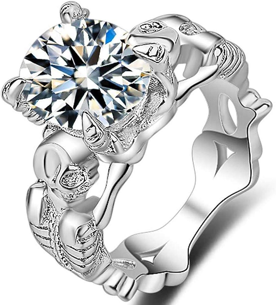 Jude Jewelers Platinum Plated Gothic Skull Solitaire Wedding Engagement Proposal Statement Biker Ring
