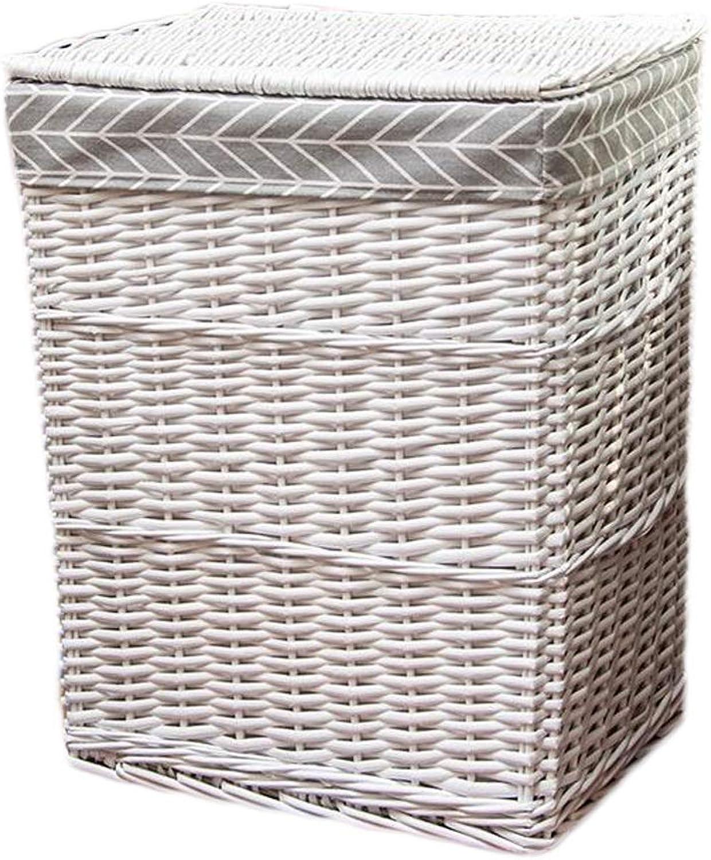 KKY-Enter Cesta de lavandería de ratán Forro de arpillera de algodón con Tapa Cesta Sucia Cesta de artículos Diversos Cesta de Almacenamiento en el hogar (Color   blancoo, Tamao   37  27  45cm)