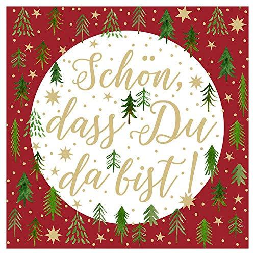 20 Servietten Weihnachtsbaum - Schön, dass Du da bist! - rot/weiß/grün/gold