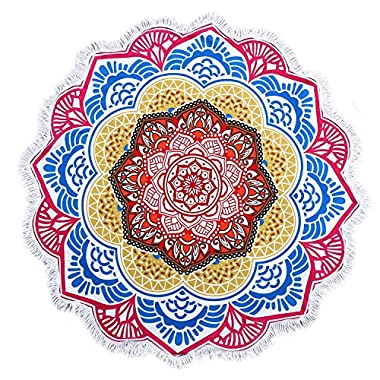 ShengChun Round Beach Towel Microfiber Mandala Indian Bohomian Lotus Extra Large Beach Blankets With Fringe Tassels Oversized Thick Terry Cloth Yoga Mat For Adults Towels 59 Inch Across (No.4)