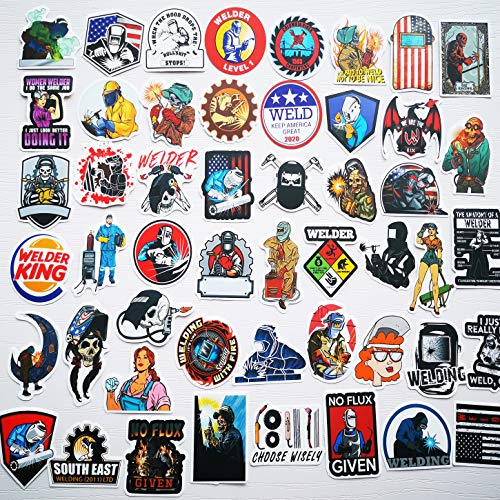 50Pcs Welder Stickers Funny Welding Helmet Stickers Hard Hat Safety Stickers Construction Workers Union Plumber Foreman