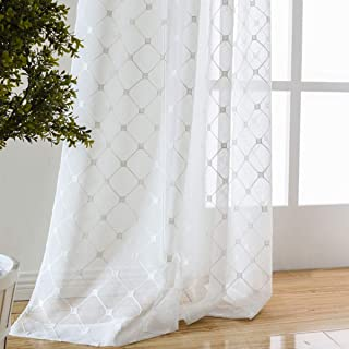 Taisier Home Off White Sheer Curtains Embroidered Trellis Design Floral Embroidered Geometric Lattice Semi Sheer Draperies for Living Room (W52 x L95 Inches, 2 Panels)