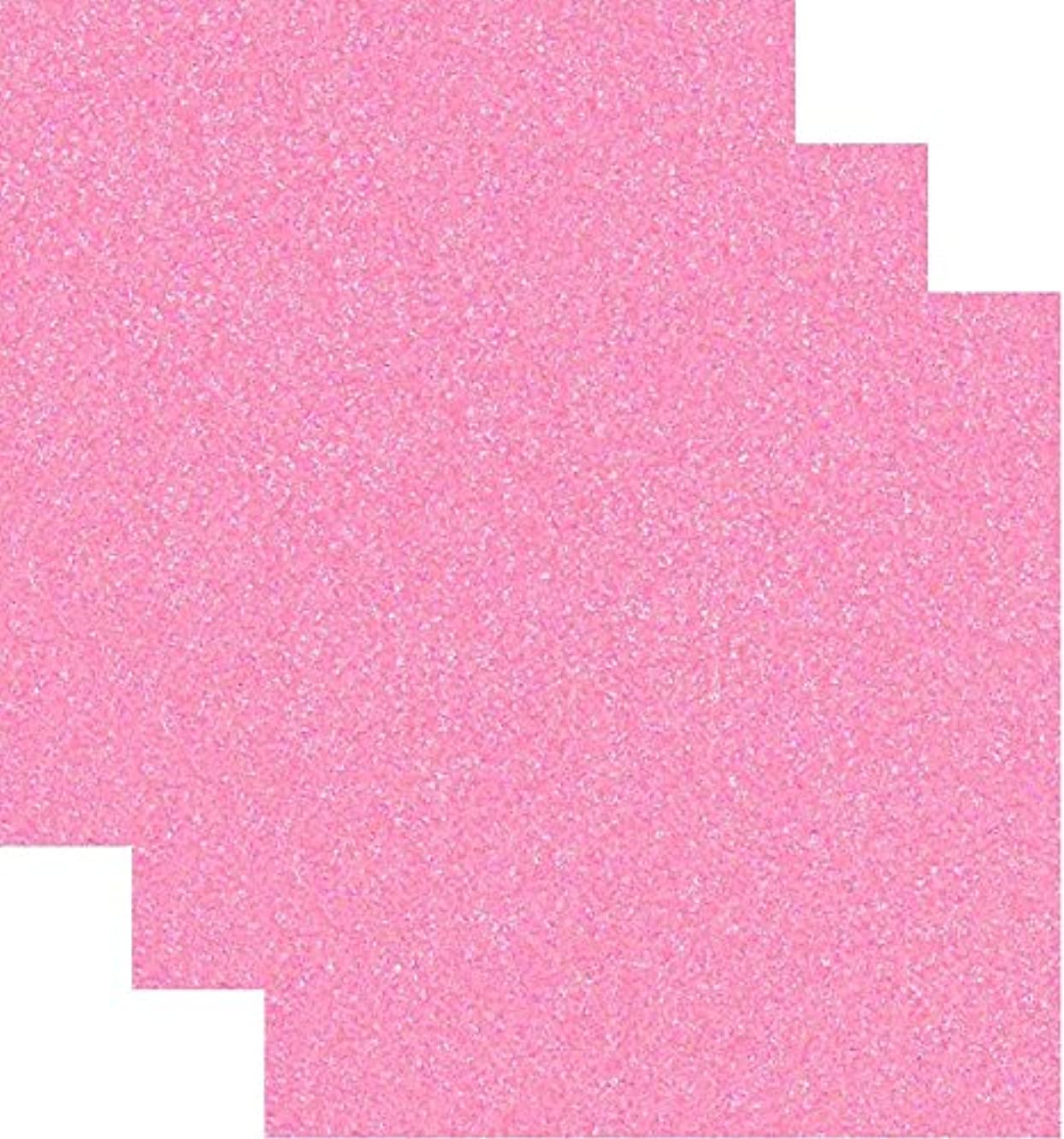 Siser Glitter Heat Transfer Vinyl HTV for T-Shirts 10 by 12 Inches (1 Foot) Sheets 3 Pack (Neon Pink)