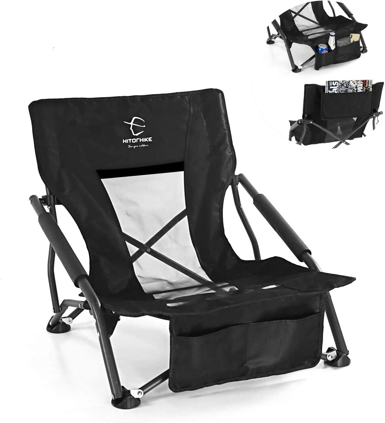HITORHIKE Low Sling Beach Camping Concert Folding Chair with Armrests and Breathable Nylon Mesh Back Compact and Sturdy Chair