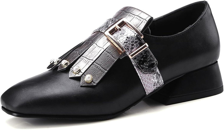 Kaloosh Women's Retro Square Toe Beaded Metallic Decoration Strap Buckle Block Heel Loafers