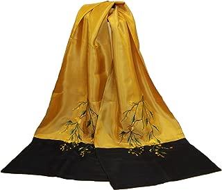 Embroidered Silk Scarves/Double Layer/ Handmade/Hadong silk /Vietnamese silk- Gold/Black