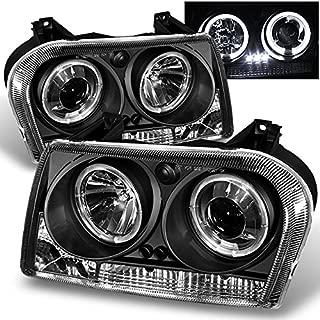 For Chrysler 300 Sedan Halogen Type Black Bezel Dual Halo Rings Design Projector Headlights Lamps Pair