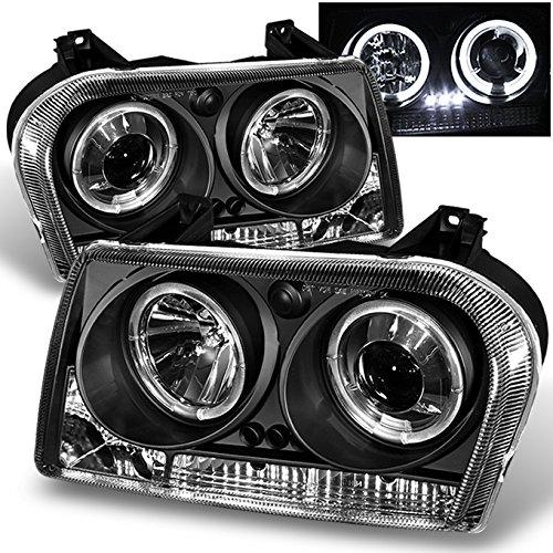 AKKON - For Chrysler 300 Sedan Halogen Type Black Bezel Dual Halo Rings Design Projector Headlights Lamps Pair