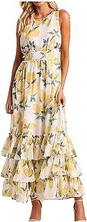 Sunhusing Ladies Sexy Sleeveless O-Neck Summer Fruit Lemon Print Layered Ruffled Hem Dress Prom Party Gown