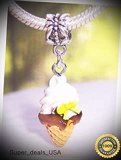 Vanilla Ice Cream Cone Dessert Food Beach Dangle Charm for European Bracelets DIY Handmade Ornament Crafts