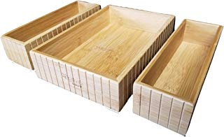 SplashSoup Bamboo Drawer Set 3 Caddies | Natural Easy Storage | Kitchen Accessory Holder | Home Office Desk Bins | Nightstand Dresser Bathroom Counter Top Organizers | Pantry Tool Keepers