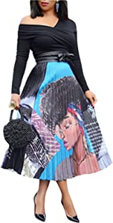 MarcoJudy Women's Vintage Graffiti Cartoon Printed A-line Pleated Swing Midi Skirts