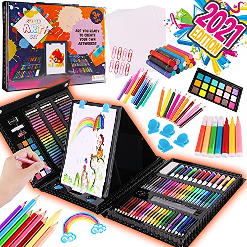 Alloytop 226 Pcs Art and Craft Supplies Colored Pencils - Painting Drawing Sketching Coloring Kit For Teens Toddlers Girls Boys Kids Ages 4 5 6 7 8 9 10 11 12 Years Old with Oil Pastels Crayons