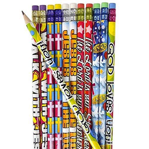 12 Dozen (144) Religious Pencils - Pencils #2 Lead - Classroom Rewards Teacher VBS Education Jesus GOD Loves Me Vacation Bible School