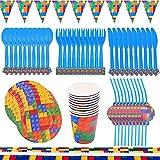 TRRY Juego de artículos para fiestas y juego de platos, platos de papel, juego de vajilla para fiestas y vasos de papel, apto para regalos de niños, aniversarios, 62 unidades