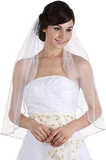 1T 1 Tier Crystals Pearls Beaded Wedding Veil Elbow Length 30