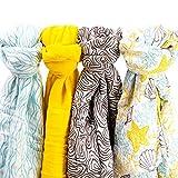 Muslin Swaddle Blankets Boy or Girl - Super Soft Bamboo Organic Cotton Muslin Swaddle Blankets - Large Muslin Swaddle Blankets for Easy Swaddling - Cute Unisex Theme Pattern Design