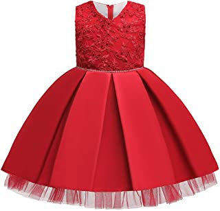 IBTOM CASTLE Toddler Little Girls Pleated Beaded Applique Embroidered Flower Girl Pageant Wedding Birthday Party Gown