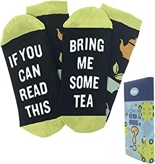 If You Can Read This Bring Me Tea Wine Coffee Novelty Socks With Packaging, Fun Ankle Crew Socks for Men Women