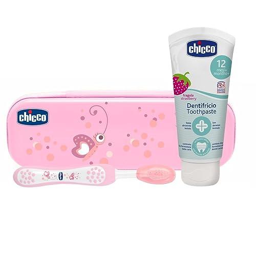 Chicco - Neceser set dental cepillo y pasta fresa con flúor 12+ m, rosa