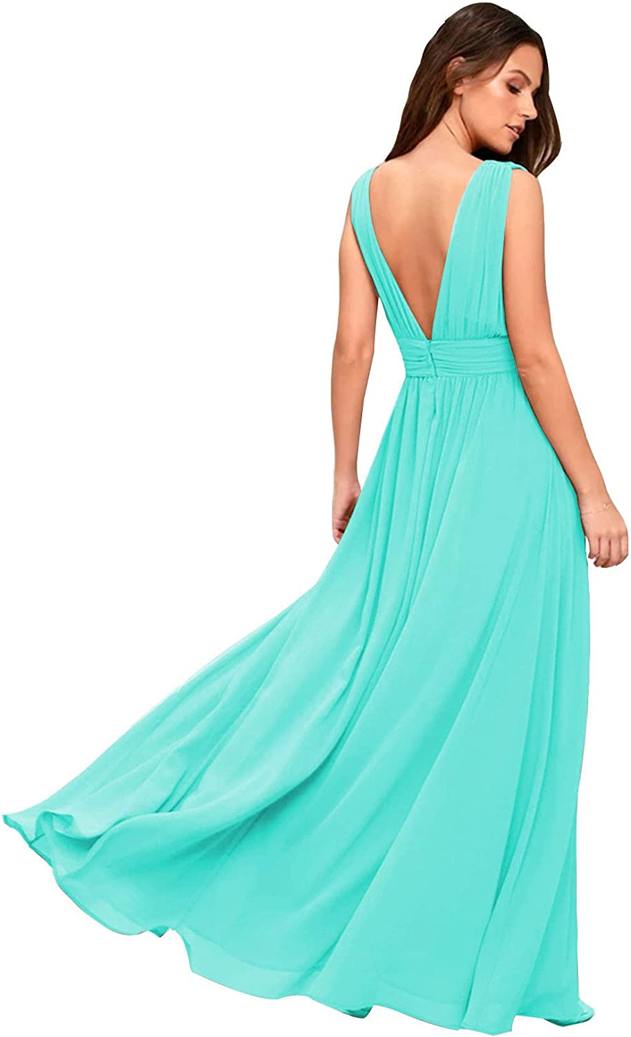 RTB V Jacksonville Mall Neck Chiffon Sexy Bridesmaid for A New Shipping Free Long Dresses 2021 Women