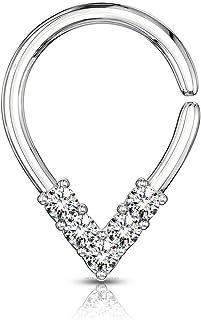 Anello per setto nasale in argento con gemma trasparente per setto nasale Daith Tribale cartilagine Helix V forma pieghevole